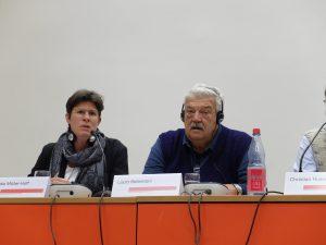 Rechtsanwältin Claudia Müller-Hoff und Gewerkschafter Lúcio Bellentani auf einer Veranstaltung der Rosa-Luxemburg-Stiftung im November in Berlin